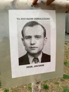 Miejsce odnalezienia szczątków Jana Kaima - Łączka